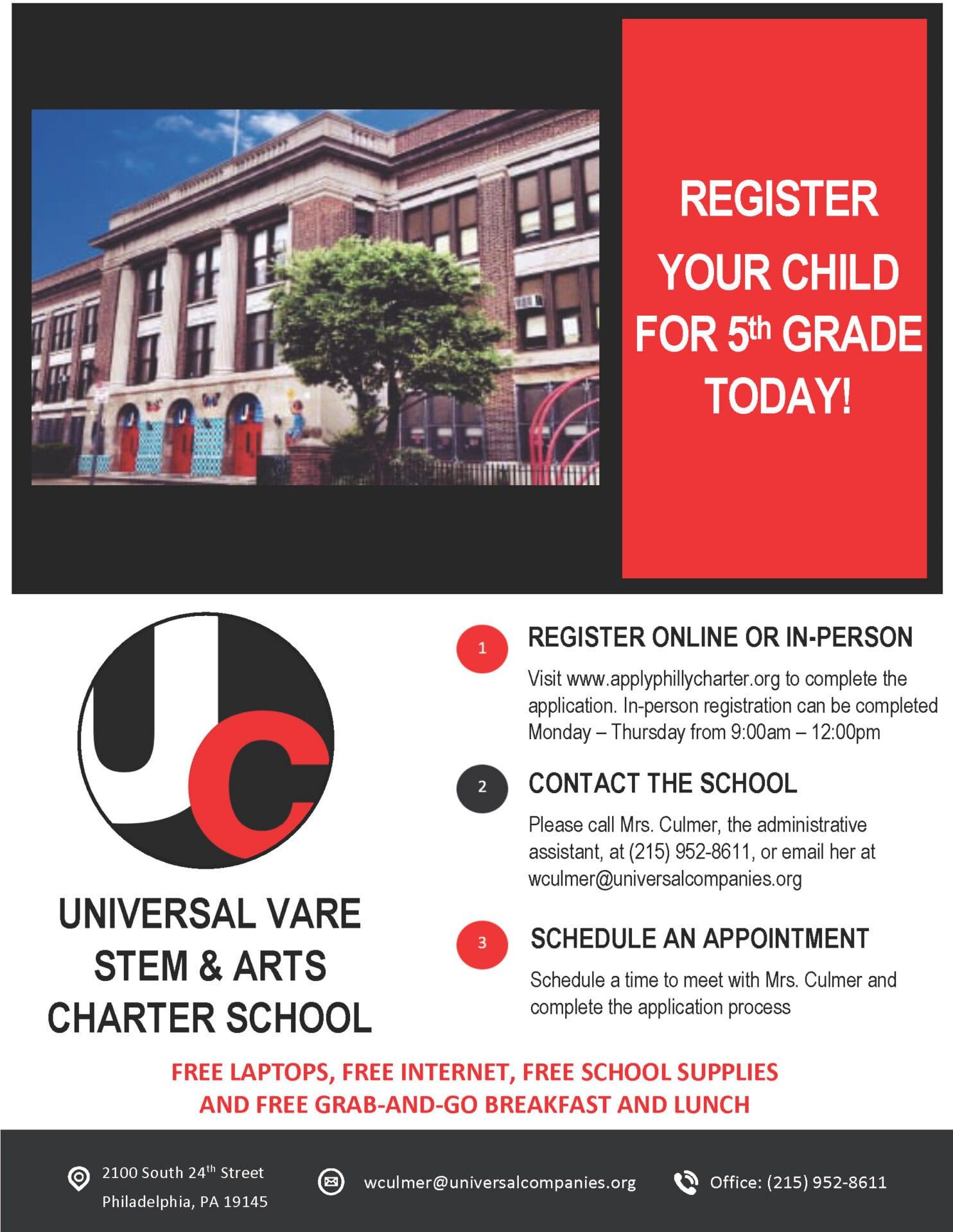 5th Grade Registration Flyer Vare